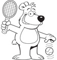 Cartoon bear playing tennis vector image vector image