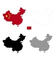 china country black silhouette and with flag vector image vector image