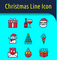 christmas color line icon vector image
