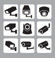 collection cctv and security camera icon vector image vector image