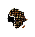 concept african woman map africa logo vector image