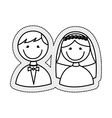 cute little just married couple vector image