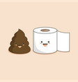 cute smiling happy funny poop and toilet paper vector image vector image
