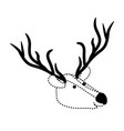 deer cartoon head in black dotted silhouette vector image vector image