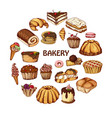 desserts elements in hand drawn style vector image