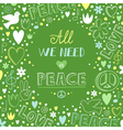 Doodle green love and peace theme background with vector image
