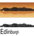 Edinburgh skyline in orange background vector image vector image