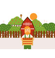 farmer holding wooden box apples at orchard vector image