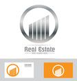 Grey symbol real estate building logo icon vector image vector image