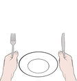 hands holding knife and fork with vector image vector image