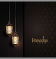 hanging lanterns with text space for ramadan vector image vector image