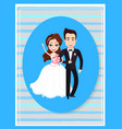 happy people on wedding day cute bride and groom vector image vector image