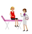 Happy pregnant woman having a doctor visit vector image vector image