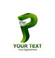 initial letter p or jp logo template colored vector image