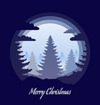 layered christmas paper greeting card with spruces vector image