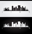 lima skyline and landmarks silhouette vector image