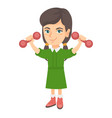 little smiling caucasian girl holding dumbbells vector image