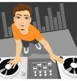 male disc jockey mixing the track vector image vector image
