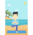 Man practicing yoga tree pose on the beach vector image vector image