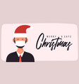 merry and safe christmas businessman in santa vector image