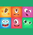 monster cartoon faces demon smiles and big crazy vector image vector image