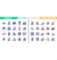 nature conservation green color linear icons set vector image vector image