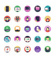 network and hosting flat icons set vector image vector image