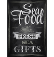Poster Sea food fresh sea gifts chalk vector image