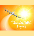 realistic poster white airplane flying in the sky vector image vector image