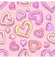 Seamless doodle pattern with hand drawn hearts vector image vector image