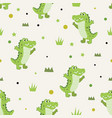 seamless pattern cute happiness alligator vector image vector image