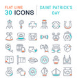 set line icons saint patricks day vector image