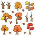 Set of autumn tree doodles vector image