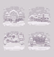 set of four monochrome white winter landscape vector image