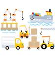 set vehicles cartoon industrial port vector image
