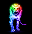 Spectrum fire lion vector image