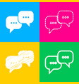 speech bubbles sign four styles of icon on four vector image