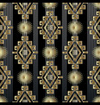 tribal striped gold 3d seamless pattern vector image