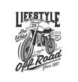 tshirt print with racing off road bike sport team vector image