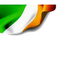 waving flag of ireland close-up with shadow on vector image vector image