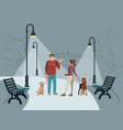 young people walk in the park vector image
