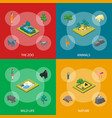 zoo concept banner set 3d isometric view vector image