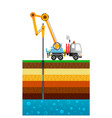 the drilling truck drills a well mining industry vector image