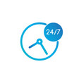24 hours 7 days icon time clock icon isolated on vector image