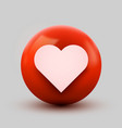 3d heart ball sign emoticon icon design for social vector image vector image