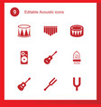 9 acoustic icons vector image vector image