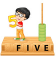 a boy holding number five vector image