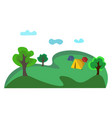 a landscape a campsite with three tents or vector image vector image