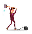 angry businessman cutting iron chain with big vector image vector image