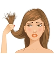 Beautiful sad girl with problem of split ends vector image vector image